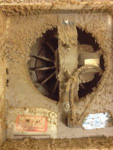 Dirty exhaust fan before cleaning.